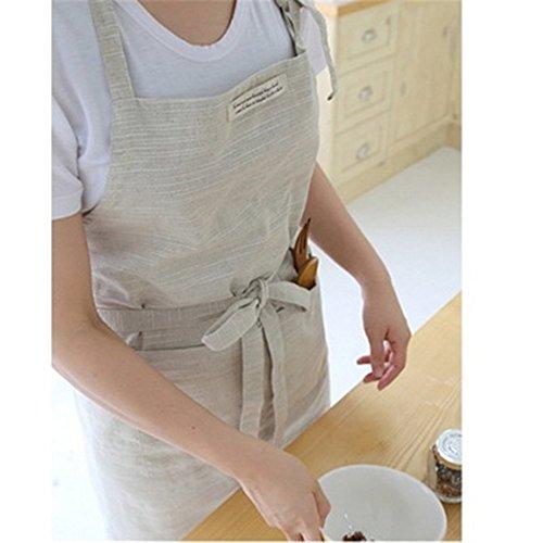 Natural Apron - Katoot@ Japanese Style Cross-front Smock Natural Linen Apron-natural Washing Color (Beige)
