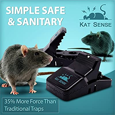 Kat Sense Pest Control Rat Mouse Traps (12 Pack), Humane Rat Trap for Instant Kill Results, Safe & Sanitary Rodent Killer with Bait Cup, Effective Anti-Rodent Infestation Solution, Reusable