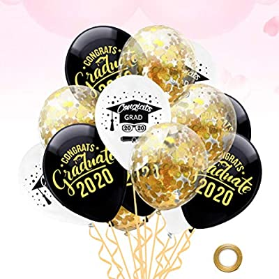 PRETYZOOM 15pcs Graduation Party Balloons Congrats Grad Latex Balloons Confetti Balloons for Graduation Party Decorations 12 Inches: Toys & Games