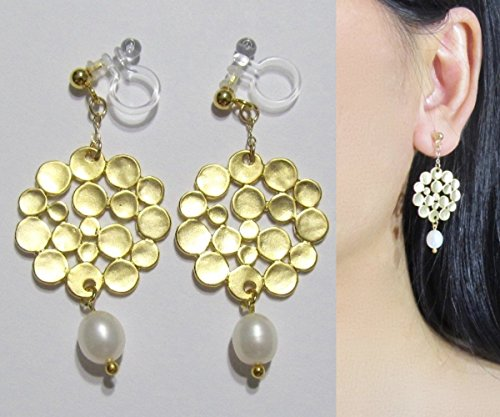 White Freshwater Pearl Matte Gold Dot Pattern Dangle Invisible Wedding Bridal Clip On Earrings, Clip-ons Non Pierced Earrings