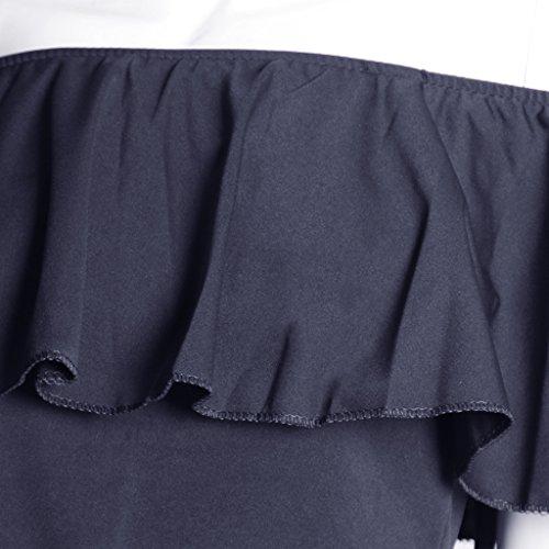 MagiDeal Camiseta sin Hombros de Mujer con Polainas Pantalón de Chicas Ropa de Moda de Verano azul oscuro