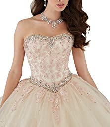 Elley Women\'s Lace Applique Sweet Sixteen Girl Birthday Party Backless Long Tulle Quinceanera Dress Champagne US16W