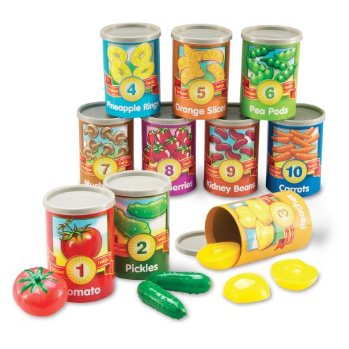 Learning Resources One To Ten Counting Cans Toy Set, 65 Pieces (Vegan Food Play)