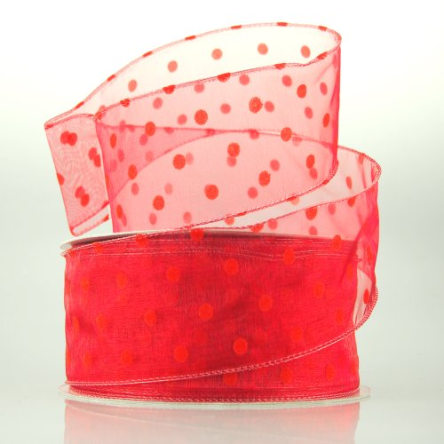 Organza Polka Dots Wired Ribbon, 50-yard, 2-inch (Red)