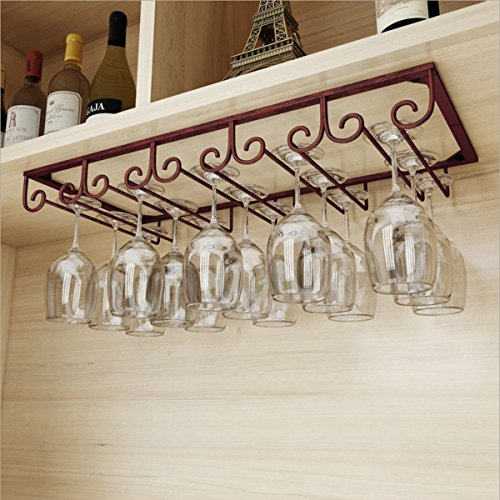 Warm Van Under Cabinet Hanging 5 Slots Iron Wine Glass Rack,Rustic Organizer Storage Rack,Stemware Cup Holder for Home Bar, Holds up to 10-15 Glasses(Bronze) by Warm Van