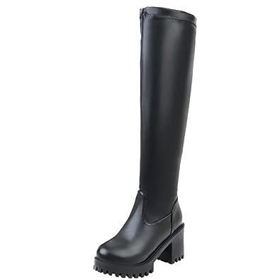 Onewus Damen Knie Hoch Stiefel mit Blockabsatz Runde Zehe Plateau Langschaft Stiefel