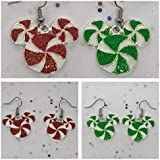 Disney Inspired Mickey Mouse Christmas Candy Minty Swirl Earrings