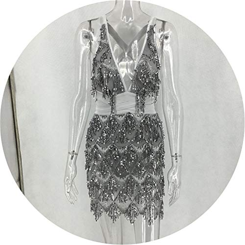 2019 Hot Sequins Back Bandage Women Dress Sexy Night Club Mini Black Dress Bandage Dresses,Gray,XL
