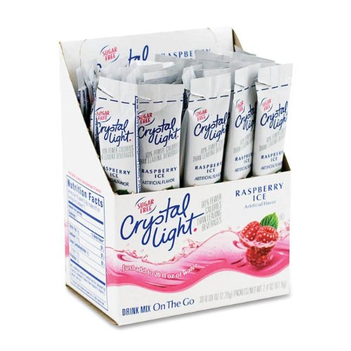 Crystal Light On The Go Sticks - 20oz Water Bottle Size - 30ct Boxes (Pack of 4) - Raspberry (Crystal Light On The Go Packets Raspberry Ice)