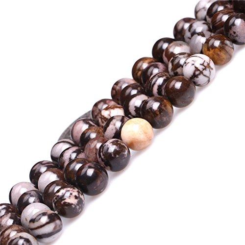 GEM-inside Natural Round Brown 8mm Outback Jasper Gemstone Semi Precious Beads for Jewelry Making 15