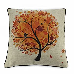 "Generic 18""x18"" Cotton Linen Sofa Cushion Pillow Case Season Series Fall"