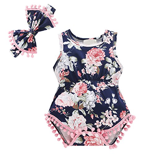 Baywell Baby Girl Romper Outfit Set, Sleeveless Floral Printed Bow-Knot Headband 2 Pcs (L/6-12M/80, Pink1)