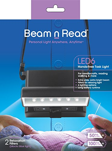 Beam n Read LED 6 Hands-Free Task Light; Extra Wide & Extra Bright Light from 6 LEDs Plus 2 Blue Light Blocking Relaxation Filters (Led Bright 6 Flashlight Blue)