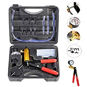 beduan 16pcs Brake Bleeder Kit Hand Held Vacuum Pump Tester with Adapters for Automotive (Black)