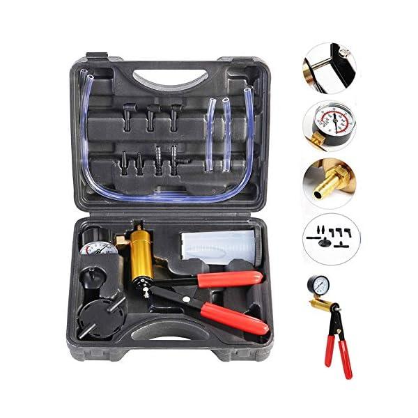beduan 16pcs Brake Bleeder Kit Hand Held Vacuum Pump Tester with Adapters for Automotive (Black)