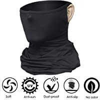 TUMAMA Cooling Neck Gaiter UV Protection Face Scarf Mask Cover Bandana Breathable Headwrap for Camping Running Cycling Fishing Sport Hunting (1Pcs Black)