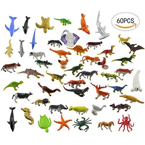 60 PCS different Acmer Mini Jungle Animals Toys Set,Realistic Wild Vinyl Pastic Animal Learning Party Favors Toys For Boys Girls Kids Toddlers Forest Small Animals Toys (Plastic Figurine Toy)