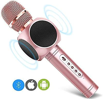 Duo Chorus Wireless Hand-held Microphone Karaoke Mic System Home Audio Microphone Integrated Mobile Phone K Song Bluetooth Microphone for Karaoke Dj Party