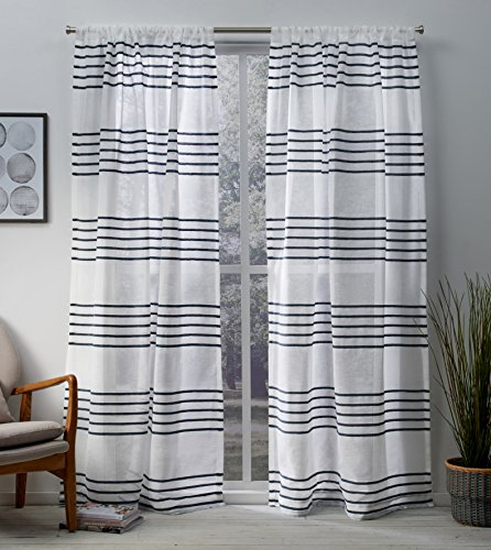 (Exclusive Home Curtains Monet Pleated Sheer Linen Cabana Stripe Window Curtain Panel Pair with Rod Pocket, 54x96, Indigo, 2 Piece)