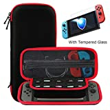 Ztotop Case and Tempered Glass Screen Protector for Nintendo Switch, Portable Travel Carrying Case Slim Protective Hard Shell Pouch for Switch Console & Accessories (10 Game Holder), Streak Red