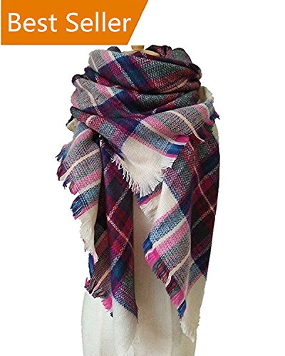 WOZHIFU Womens Plaid Blanket Scarf Winter Scarf Large Soft Gorgeous Wrap Shawl