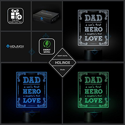 Dad A Son's First Hero, Dad lamp, Father's day gift idea, Decoration lamp, 7 Color Mode, Awesome gifts (MT217) by Holinox (Image #5)