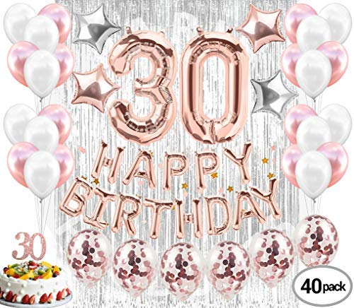 30th Birthday Decorations for Her| 30th Birthday Party Supplies| Party Decorations| Rose Gold Confetti Balloon| Dirty Thirty| 30 Cake Topper| Silver Foil Curtain Photo Booth Backdrop| Happy 30th Bday