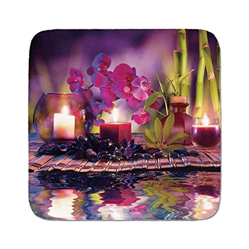 Cozy Seat Protector Pads Cushion Area Rug,Spa Decor,Violet Composition Candles Oil Orchids and Bamboo on Water Natural Leaves,Easy to Use on Any Surface -