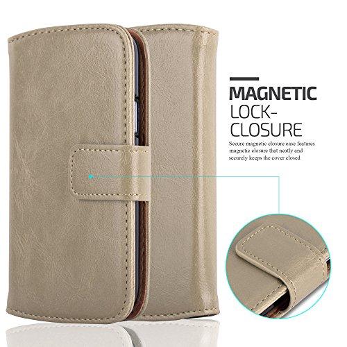 Cadorabo - Funda Estilo Book Lujo para Samsung Galaxy S4 MINI (i9190) con Tarjetero y Función de Suporte - Etui Case Cover Carcasa Caja Protección en MARRÓN-CAPUCHINO MARRÓN-CAPUCHINO