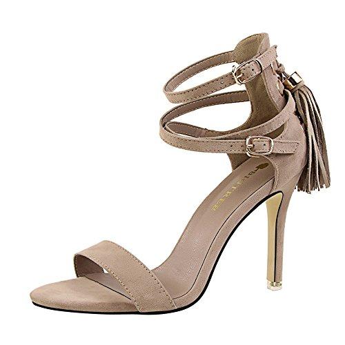 a9dde917b z dw Los talones de moda retro verano sexy Suede flecos con sandalias Caqui  ...