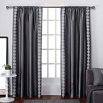 Amazon Com Exclusive Home Curtains Tiffany Faux Silk Rod