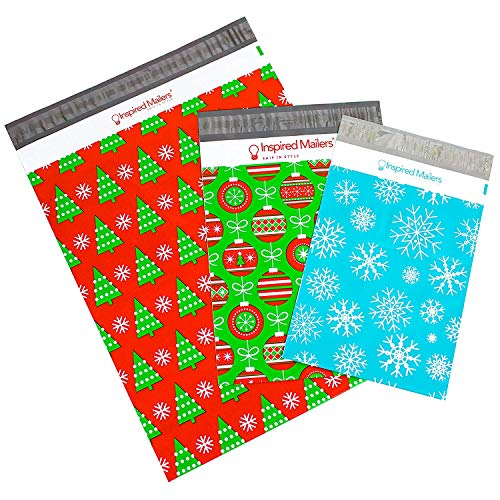Inspired Mailers Holiday Combo Pack w/Writable Surface - 10 Each: 8.5x12 Snowflakes, 10x13 Ornaments, 14.5x19 Christmas Trees - Pack of 30 Poly Mailers