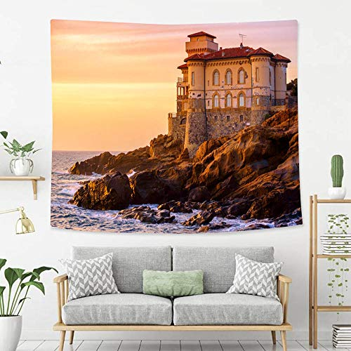 - BEIVIVI Wall Tapestry Wall Hanging Boccale Castle on Tuscany Coast Wall Art Decoration for Bedroom Living Room Dorm, Window Curtain Picnic Mat