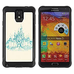 SHIMIN CAO@ Church Castle Teal Painting Medieval Rugged Hybrid Armor Slim Protection Case Cover Shell For Note 3 Case ,N9000 Leather Case ,Leather for Note 3 ,Case for Note 3 ,Note 3 case