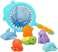 HAFUZIYN Bath Toy with Fishing Net, Floating Animals, Catch Net Game Bathroom Pool Accessory, Shark Fishing Play Set for...