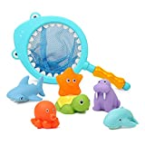 Bath Toy with Fishing Net, Floating Animals, Catch Net Game Bathroom Pool Accessory, Shark Fishing Play Set for Babies and Kids