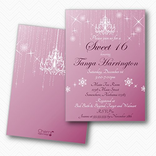 Winter Wonderland Sweet 16 Birthday party Invitations | Envelopes Included for $<!--$34.99-->
