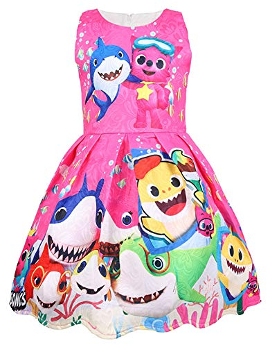 AOVCLKID Toddler Girls Baby Princess Dress up Shark Cartoon Print Party Gown Dress (Rose,90/1-2Y) ()