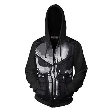 The Punisher Printed Hoodies Zipper Sweatshirt Cosplay Sports Hooded Tops Black