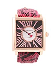 Ladies Square Face Watch Roman Numerals Pink Leather Strap Rose Gold Tone Case Jade LeBaum - JB202873G