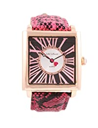 Ladies Square Face Watch Roman Numerals Pink Leather Strap Rose Gold Tone Case Jade LeBaum - JB202873G