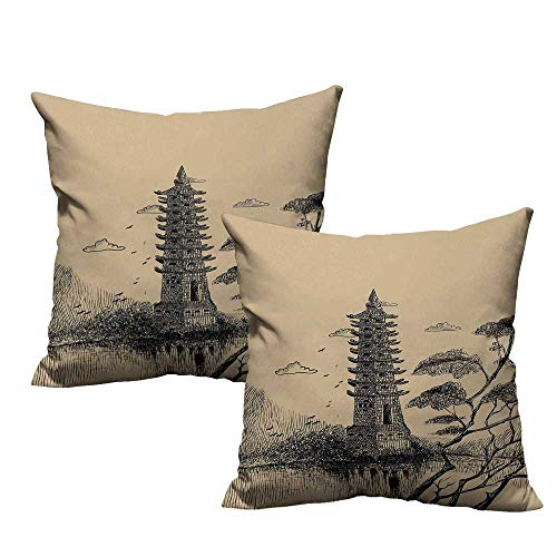 warmfamily Asian Polyester Pillowcase Old Stone Tiered Tower Vintage Taoist House of Faith Historical Illustration Protect The Waist W23 x L23 Pale Brown Black -