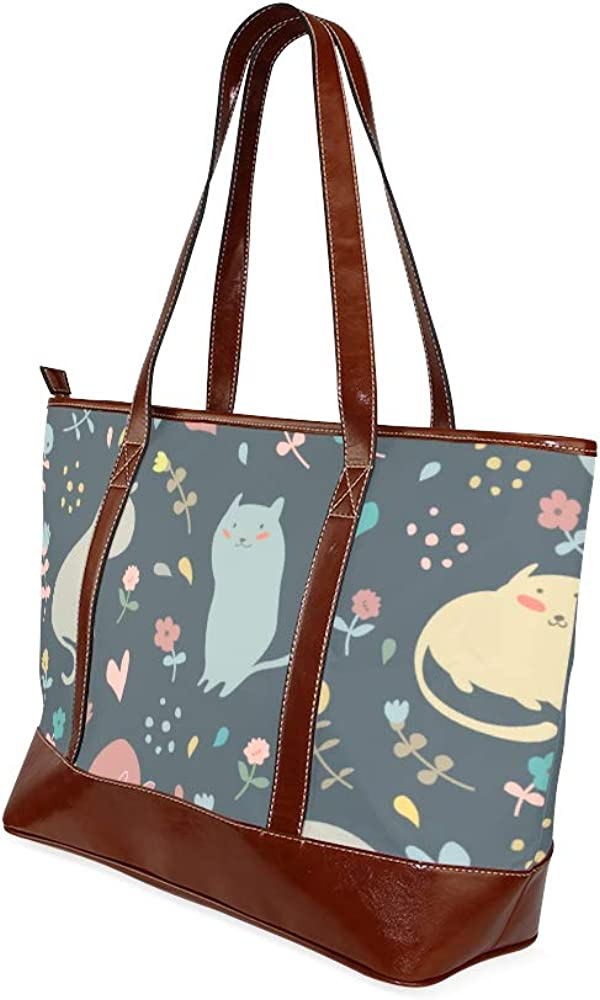 Tote Bags Lovely Cats Hearts Flowers Cute Childish Travel Totes Bag Fashion Handbags Shopping Zippered Tote For Women Waterproof Handbag