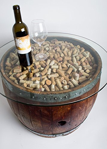 Wine Barrel Coffee Table with Cork and Glass -