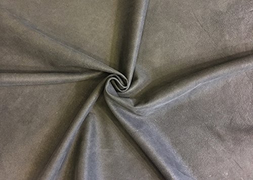 Dark Grey Leather Hide - Spanish Quality Full Skin - Nubuck Rustic Suede Finish - 4 sq ft - 1.5 oz avg Thickness - Genuine Lambskin Material - Upholstery Home -
