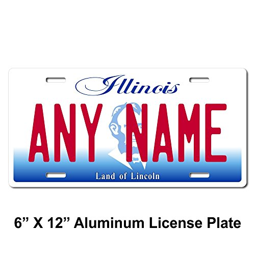 TEAMLOGO Personalized Illinois License Plate - Sizes for Kid's Bikes, Cars, Trucks, Cart, Key Rings Version 2 (6 X 12 Aluminum License Plate)