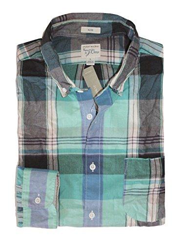 J. Crew - Men's Slim Fit - Plaid Madras Casual Button-Front Shirt (Large, Turq/Black)