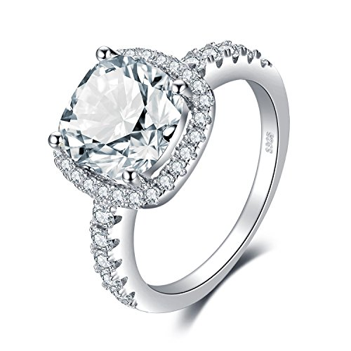 Sterling Silver Engagement Anniversary Ring - JewelryPalace Cushion 3ct CZ Engagement Rings For Women Cubic Zirconia Promise Halo Engagement Ring 925 Sterling Silver Solitaire Engagement Ring (8.5)
