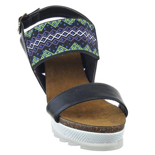 Sopily - Zapatillas de Moda Sandalias Plataforma Zapatillas de plataforma Tobillo mujer strass Talón Plataforma 10 CM - plantilla textil - Negro