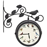 Mark Feldstein and Associates Decorative Outdoor Bird Clock and Weather Thermometer